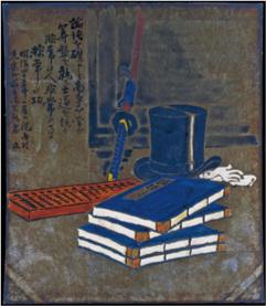 論語と算盤とシルクハットと刀の絵