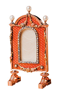 miniature orange enamel frame